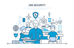 Job security concept. Data security, comfortable work, protection of employees and information. Job security concept. Data security, comfortable work Royalty Free Stock Photos
