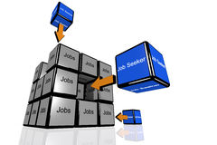 Job Seeker and Jobs symbolized with flying cubes Stock Photo