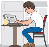 Job Seeker. Young man using his laptop in his kitchen in an attempt to find employment Stock Image