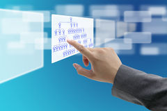 Job Seeking. Man hand touch on vacant position in organization chart for Job Seeking concept Royalty Free Stock Image