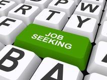 Job seeking. Green keyboard key with white text job seeking Stock Image
