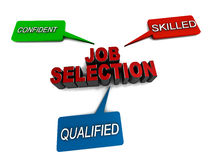 Job selection. Elements of successful job or interview selection, confidence skills and qualifications play the leading roles in getting a selection Royalty Free Stock Photo