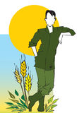Farmer,Agriculturist, Cartoon Royalty Free Stock Photo
