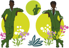 African Gardener Couple and Grass Flower Cartoon Royalty Free Stock Photography