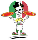Pizzaiolo cook with Italian Pizza Stock Illustration