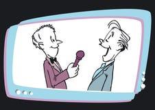 Intervew and Man Speaker Television,Cartoon. Speaker on screen - cartoon style royalty free illustration