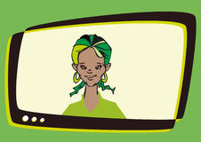 African Latino,Woman Speaker Television,Cartoon Royalty Free Stock Image