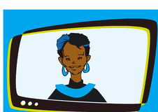 African Indian Woman Speaker Television,Cartoon Royalty Free Stock Photos