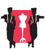 JOB SERIES tailor,dressmaker. Tailor and dressmaker (stylist) with dummy -vectorial Royalty Free Stock Photos