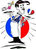 Waiter with flag of France, Cartoon Caricature Stock Photos