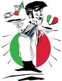 Waiter with flag of Italy, Cartoon Caricature Royalty Free Stock Photos