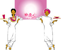Job series -waitress  waiter. Indian waitress  and waiter -vector  clipart Royalty Free Stock Photography