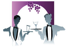 Job series -waitress  waiter. Waitress  and waiter-illustration clipart Royalty Free Stock Photo