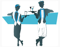 Job series -waitress  waiter. Waitress  and waiter -illustration clipart Royalty Free Stock Images