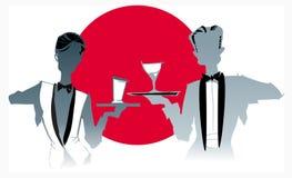 Job series -waitress  waiter. Waitress  and waiter - illustration clipart Stock Photos