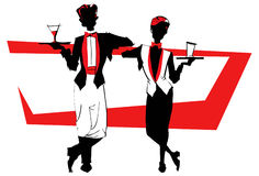 Job series -waitress  waiter. Waitress  and waiter - illustration clipart Royalty Free Stock Image
