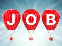 Job sign on red hot air balloons Stock Photos