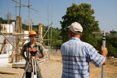Job site. Chief of construction on a building site Royalty Free Stock Images