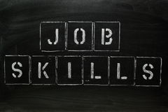 Job Skills. The words JOB SKILLS in stencil letters on a blackboard Stock Image