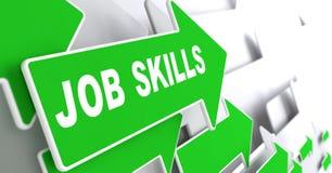 Job Skills en la señal de dirección verde - flecha Foto de archivo