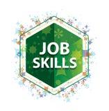 Job Skills floral plants pattern green hexagon button vector illustration