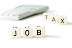 Job tax money calculator economy concept Royalty Free Stock Images