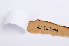 Job Training. 'Job Training' written on brown paper with white paper teardrop Royalty Free Stock Images