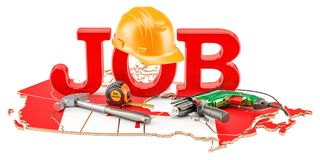 Job Vacancies in Canada concept, 3D rendering. Isolated on white background Stock Photos