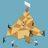 Job Vacancy Flat Isometric Vector Illustration. Job Vacancy Flat Isometric Vector Concept Illustration. People Climbing to the Mountain to Get Job Vacancy stock illustration