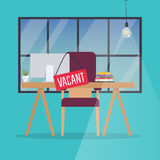 Job vacancy. Office desk with chair, computer and Vacant sign ha Stock Images