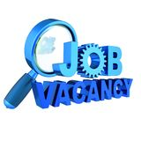 Job vacancy text blue unemployment banner concept. Job vacancy text blue unemployment banner gear wheel under magnifying glass. Find work looking searching icon Stock Images