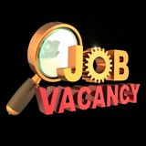 Job vacancy text unemployment banner searching work icon. Job vacancy text unemployment banner gear wheel under magnifying glass. Find work looking searching Royalty Free Stock Photo