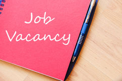 Job vacancy write on notebook Stock Images