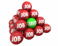 Job Vs Career Ball Pyramid anställningarbete Royaltyfria Bilder