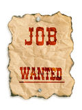 Job wanted. Western style job wanted notice on grunge paper - isolated on white Royalty Free Stock Image