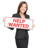 Job woman hiring holding help wanted blank sign Royalty Free Stock Photos