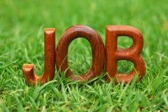 Job word on grass background. Job word wood on grass background Stock Photos