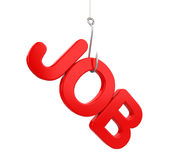 `JOB` word and Hook. On white background. 3D render Royalty Free Stock Image