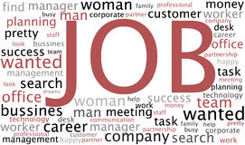Job wordcloud. With conceptual search related words Stock Image