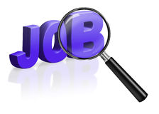Job work search recruitment vacancy carreer. Job work search recruitment career vacancy promotion jobs advert magnifying glass find employment Stock Images