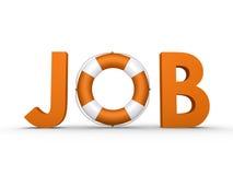 JOB-Wort mit dem Rettungsgürtel eingeschlossen Lizenzfreie Stockfotos