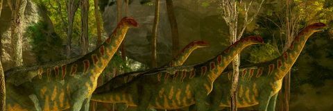 Jobaria Dinosaurs in Forest Stock Images