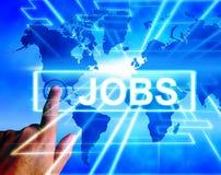 Jobböversiktsskärmar över hela världen eller internetkarriärsökande stock illustrationer