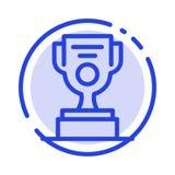 Jobb arbetare, utmärkelse, blå prickig linje linje symbol för kopp stock illustrationer