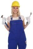 Jobb för arbetare för hantverk för hantverkarekvinna isolerat kvinnligt Arkivbild