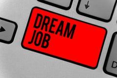 Jobb för dröm för textteckenvisning Begreppsmässigt foto en handling som betalas av av lön och att ge dig hapinesstangentbordet d Arkivbild