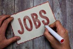 Jobb för ordhandstiltext Affärsidéen för betald position av den vanliga anställningarbetsuppgiften och ansvar Task fotografering för bildbyråer