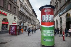 Jobbik electoral poster in the streets of Budapest for the parliamentary elections of 2018. Jobbik is the main extreme right party. Billboard of the political royalty free stock photography
