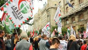 Jobbik manifestacja w Budapest, Węgry zdjęcia stock