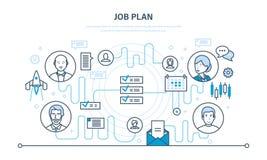 Jobbplan, tidledning, organisation, planläggning, kommunikation, händelsestadsplanerare royaltyfri illustrationer